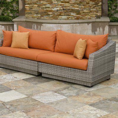 Wade Logan Castelli Sofa with Sunbrella Cushions Color: | Patio .