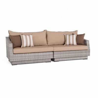 Wade Logan Castelli Patio Sofa with Cushions Color: Maxim Beige .