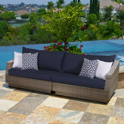Wade Logan Castelli Patio Sofa with Cushions | Outdoor wicker .