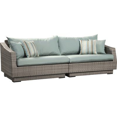 Wade Logan Castelli Patio Sofa with Cushions | Outdoor sofa, Blue .