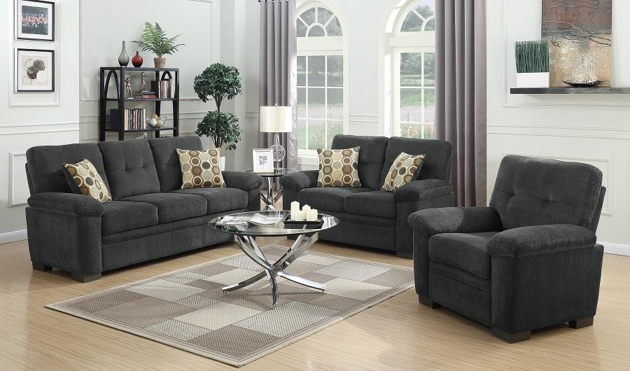 Fairbairn Casual Charcoal Three-Piece Living Room Set | 506584-S3 .