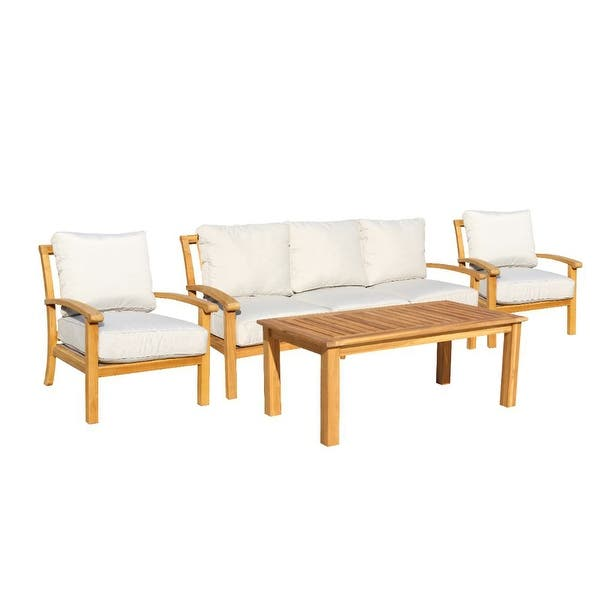Shop Courtyard Casual Heritage Teak 4 Piece Seating Set with Sofa .