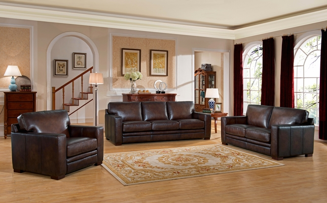 Chatsworth Casual 100% Brown Genuine Leather 3-Piece Sofa Set w .