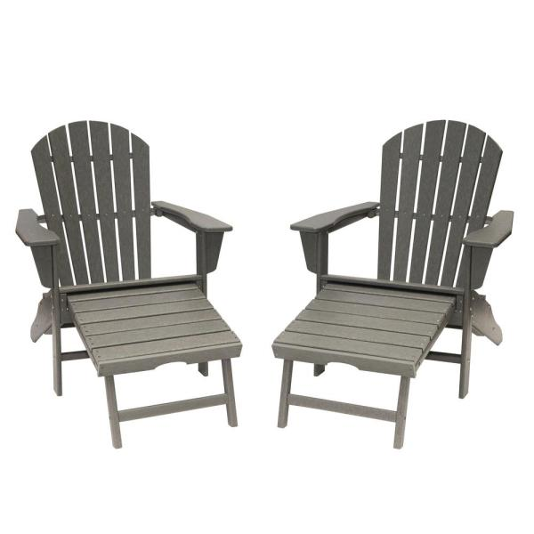 LuXeo Hampton Gray Plastic Outdoor Patio Adirondack Chair with .