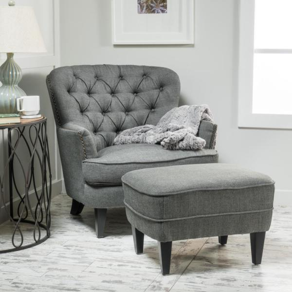 Noble House Tafton Grey Fabric Tufted Club Chair and Ottoman Set .