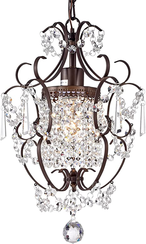 Crystal Chandelier Lighting Bronze Chandeliers 1 Light Iron .