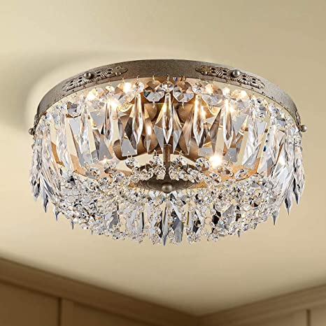 Bestier Antique Silver French Empire Crystal Semi Flush Mount .