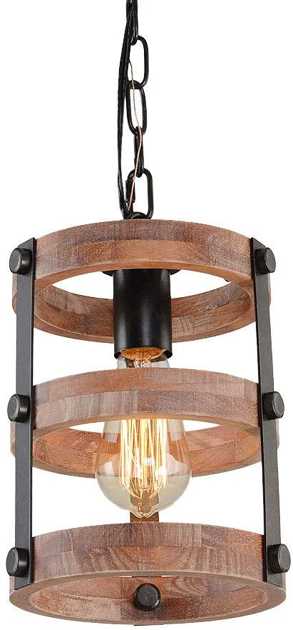 Giluta Circular Wood Pendant Light Farmhouse Kitchen Chandelier .