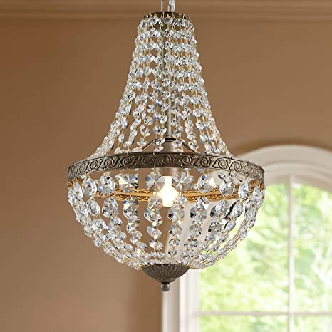 Bestier French Empire Antique Silver Finish Farmhouse Crystal .