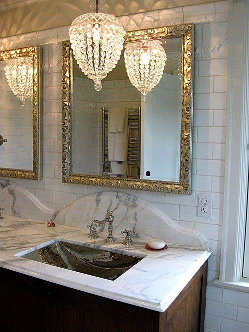 Heidi Claire: Beautiful Baths | Bathroom chandelier, Glamorous .