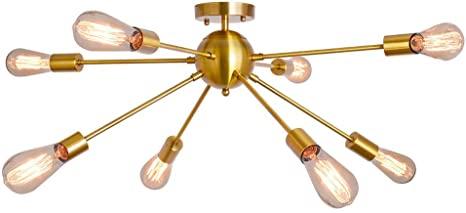 8 Light Sputnik Chandelier Brushed Brass Rustic Flush Mount .