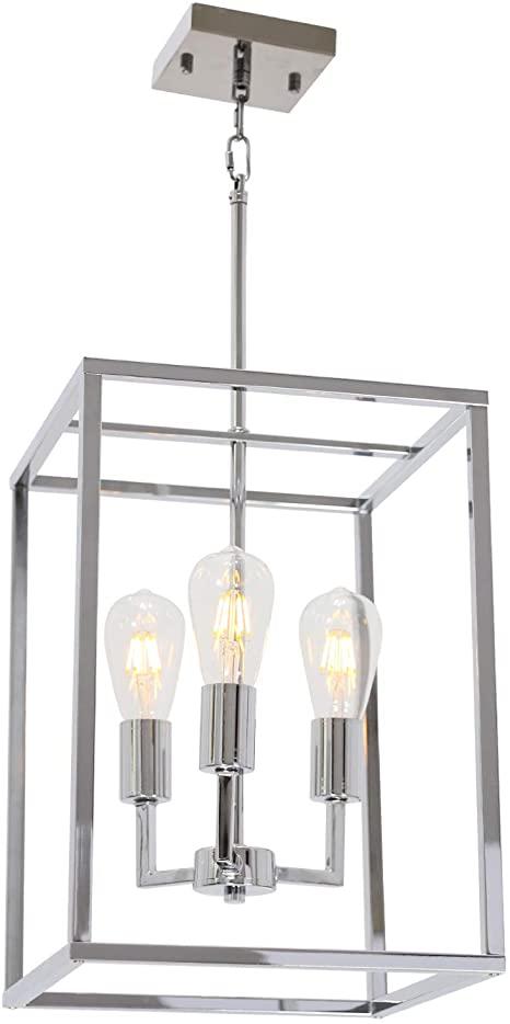 Amazon.com: VINLUZ 3 Light Cage Lantern Metal Chandelier Chrome .
