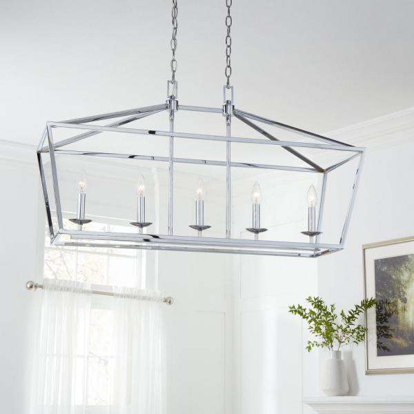 Home Decorators Collection Weyburn 5-Light Chrome Caged Island .