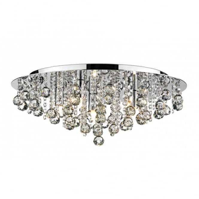 PLUTO large chrome crystal chandelier for low ceilings | Low .