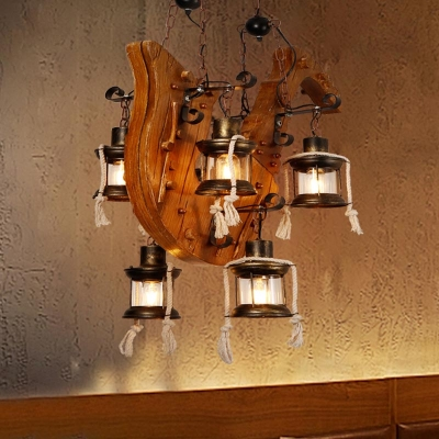 6 Lights Lantern Island Pendant Farmhouse Wood Clear Glass Linear .
