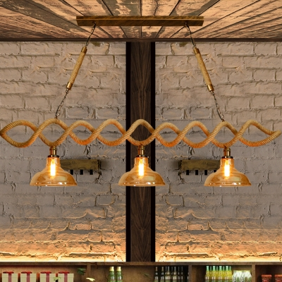 Beige 2/3 Lights Island Ceiling Light Industrial Amber Glass Barn .