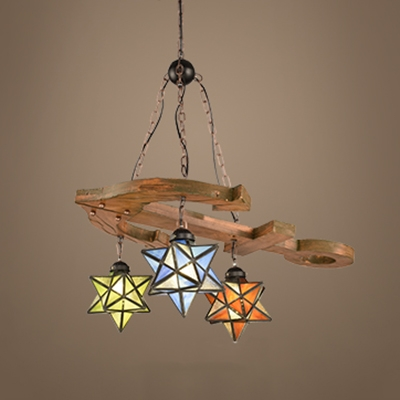 Tiffany Style Vintage Pendant Light Star Shade Stained Glass .