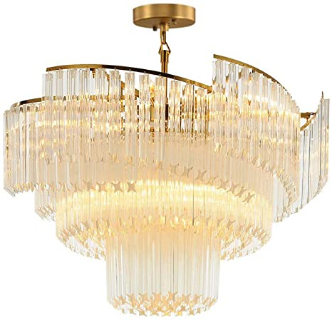Modern Luxury Pendant Lamps, Gold Spiral Crystal Chandelier for .