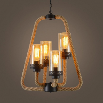 Industrial Cylinder Suspension Light Rope Metal 4 Lights Beige .