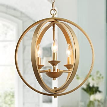 KSANA Gold Orb Chandelier Modern Globe 3 Light Fixture for Dining .