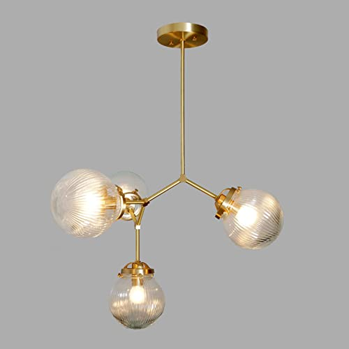 Amazon.com: 4 Ribbed Glass Globe Modern Brass Chandelier Light .