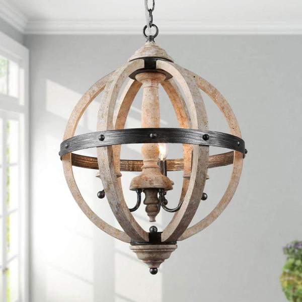 LNC 16 in. 3-Light Rustic Weathered White Wood Chandelier Globe .