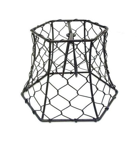 Chicken Wire Lampshade Clip On Small Black Hex Wire Lamp Shade .