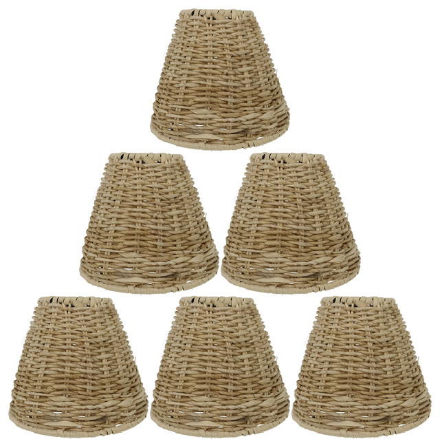 """Natural Grass Chandelier Lamp Shades, Clip-On, 2.75""""X5.5""""X4.75 ."""