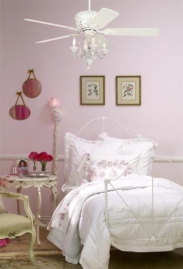 Crystal Bead Antique-White Candelabra Ceiling Fan Light Kit .