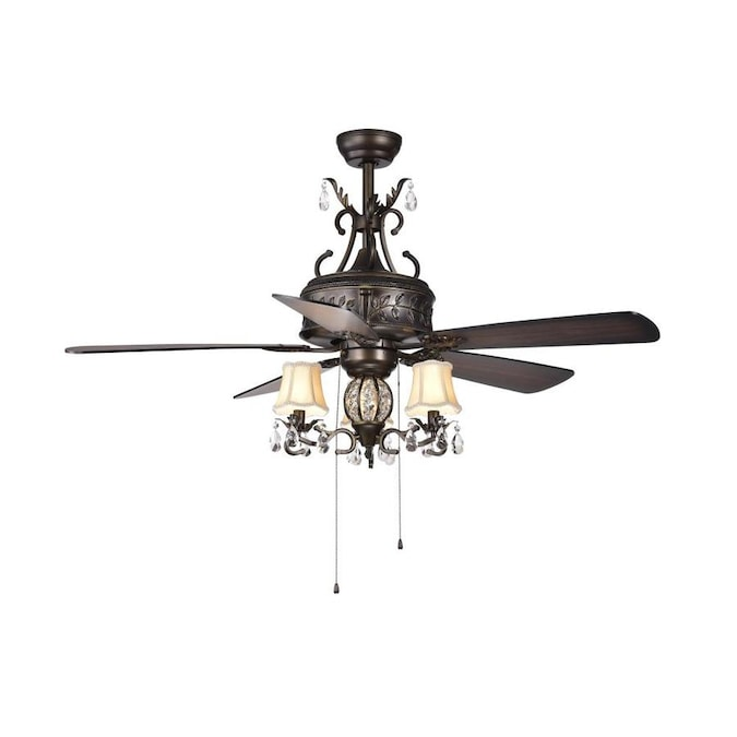 Home Accessories Inc 52-in Brown Indoor Ceiling Fan with Light Kit .