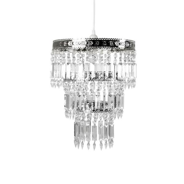 Tadpoles 14 in. x 20 in. 1-Light Faux-Crystal & Chrome Pendant .