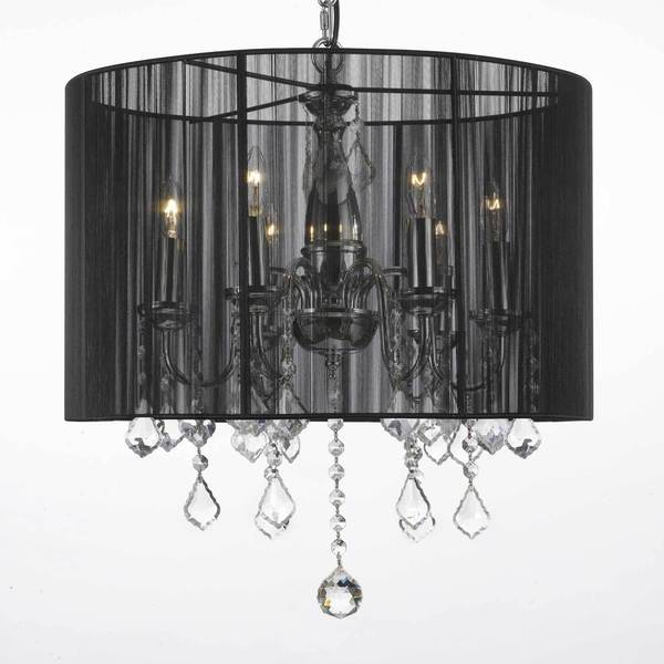 Shop Crystal 6 Light Plug in Chandelier with Large Black Shade .