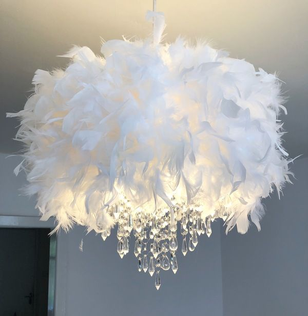 White Feather Chandelier Light Shade - MyDollHouse.Decor | Feather .