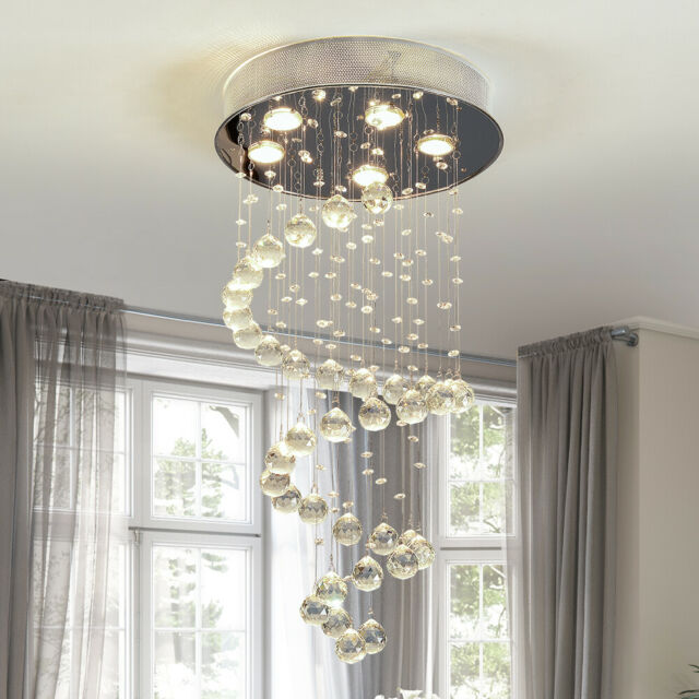 Modern Crystal Rain Drop Chandelier /Lighting fixture/Flush Mount .