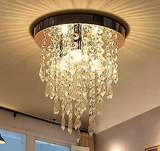 Jaycomey Mini Crystal Chandelier, Modern Crystal Flush Mount .