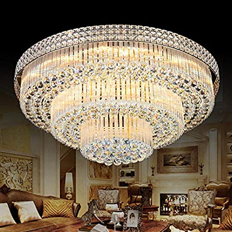 KALRI Modern K9 Crystal Chandelier Flush Mount LED Ceiling Light .
