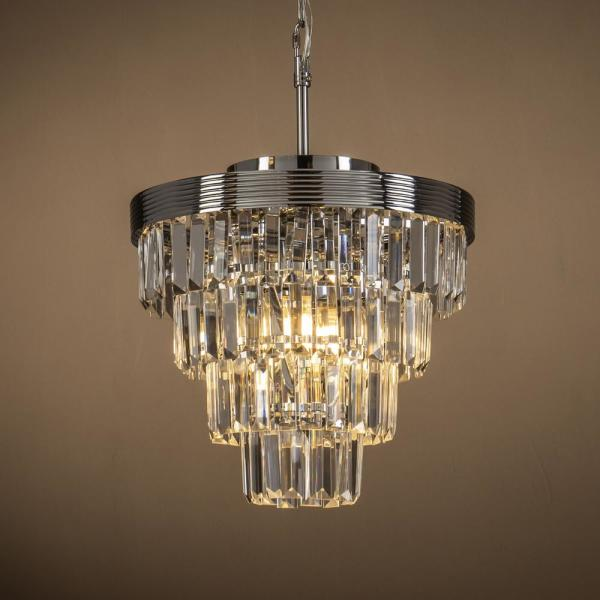 Unbranded 3-Lights Chrome Interior Decor Crystal Tiered Pendant .