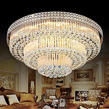 KALRI Modern K9 Crystal Chandelier Flush Mount LED Ceiling Light .