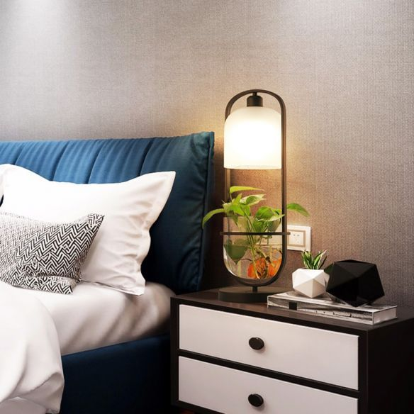 Black Oval Night Table Lamp Industrial Metal LED Living Room .