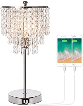 Touch Control Crystal Table Lamp with Dual USB Charging Ports, 3 .