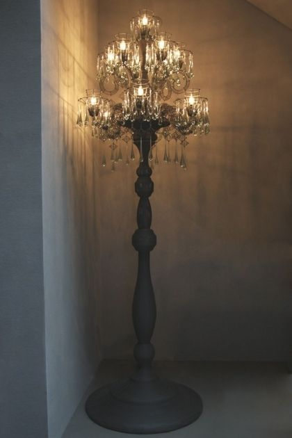 Standing chandelier floor lamp to decorate your modern room .