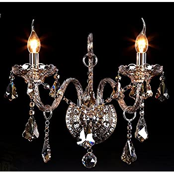 Generic 2 Lights 2 Bulbs Crystal Wall Sconces Wall Lamp Corridor .