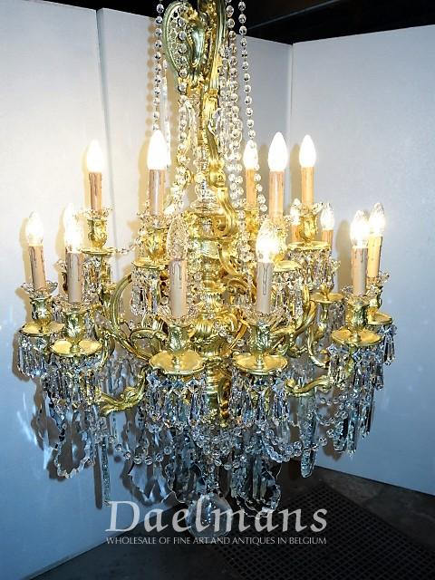 Chandelier Gilt Bronze and Crystal Louis XV style France .