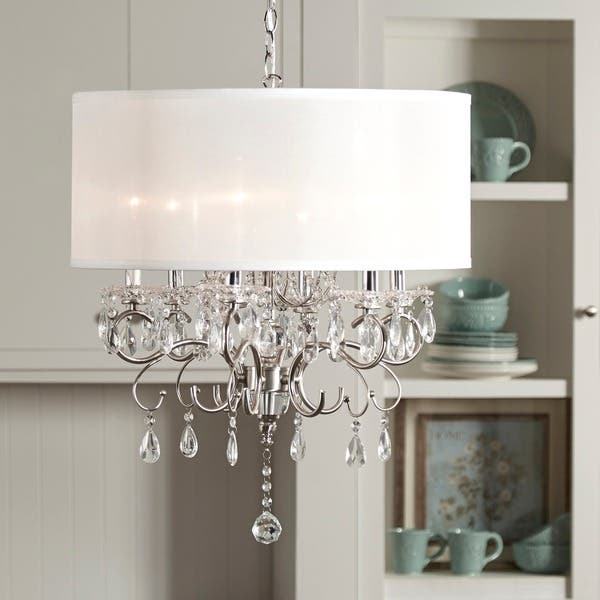 Shop Silver Mist Hanging Crystal Drum Shade Chandelier by iNSPIRE .