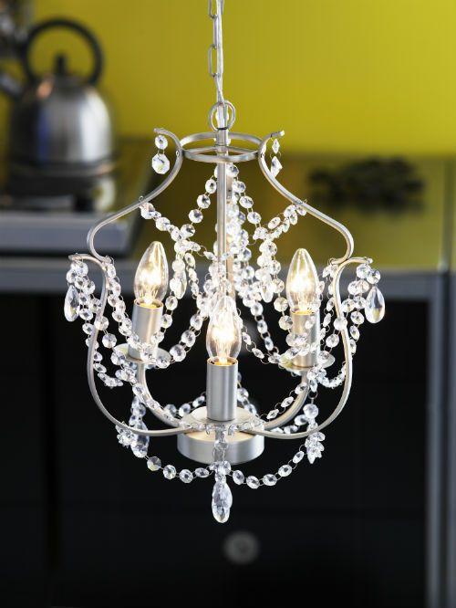 KRISTALLER Chandelier, 3-armed, silver-colour, glass - IKEA | Ikea .