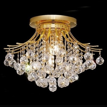Small Crown Golden Crystal Low Ceiling Lamp Lighting Fixtures .