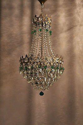 Vintage Antique Crystal 1930´s Old Basket Chandelier French Luster .