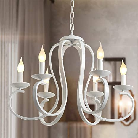 Ganeed French Country Chandelier, 6-Light White Candle-Style .
