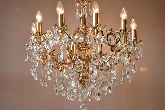10 ARM LARGE Vintage Crystal Chandelier Antique Vintage | Et