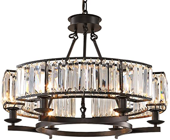 NOXARTE Luxury Round Crystal Chandelier Vintage Hanging Ceiling .